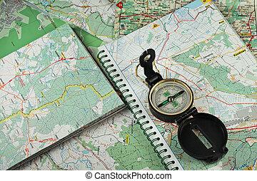 détaillé, cartes, compas