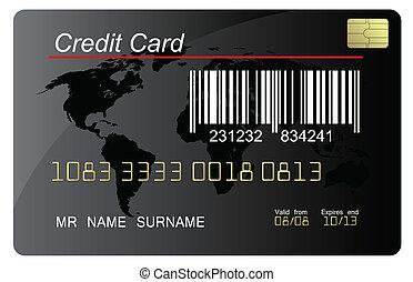 détaillé, code, barre, hautement, crédit, vecteur, noir, carte