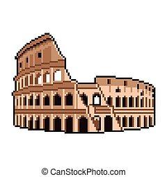 détaillé, colisée, isolé, illustration, romain, vecteur, mondiale, pixel, émerveillements