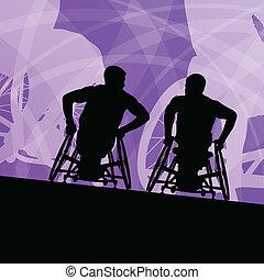 détaillé, concept, silhouette, fauteuil roulant, hommes, ...