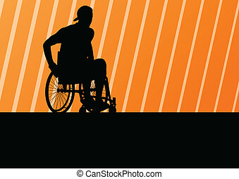 détaillé, concept, silhouette, fauteuil roulant, ...