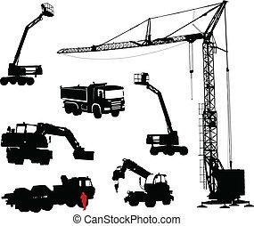 détaillé, constructio, silhouettes