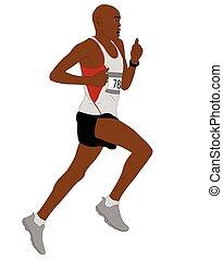 détaillé, coureur, illustration, marathon