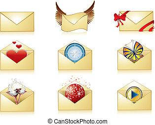 détaillé, courrier, ensemble, icône