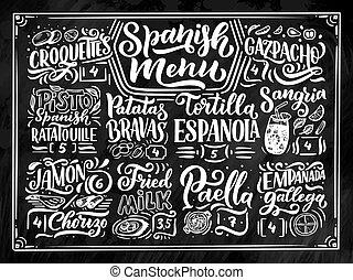 détaillé, croquis, éléments, nourriture, menu, style, illustration, isolé, différent, écrit, divers, tableau, fond, espagnol, freehand, noms, main, lettering., dessin, design.