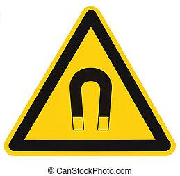 détaillé, danger, magnétique, signe jaune, avertissement, prudence, adhésif, concept, isolé, champ, sécurité, noir, autocollant, avis, triangle, risque, vertical, attention, danger, étiquette, fort, macro, grand, icône, closeup