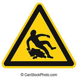 détaillé, danger, texte, autocollant, jaune, avertissement, prudence, plancher, quand, isolé, étiquette, sécurité, mouillé, triangle noir, signe, closeup, surface, icône, macro, secteur, grand, glissant, signage