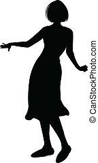 détaillé, danse, silhouette, hautement