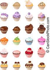 détaillé, différent, anniversaire, det, gâteaux