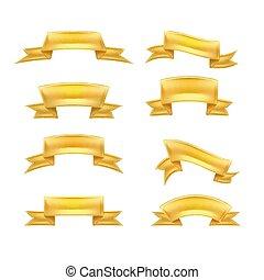 détaillé, doré, ensemble, réaliste, vecteur, rouleau, ruban