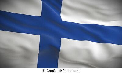 détaillé, drapeau, finlandais, hautement