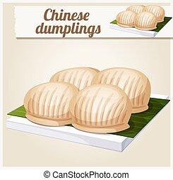 détaillé, dumplings., vecteur, chinois, icône