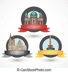 détaillé, ensemble, coloré, célèbre, allemand, landmarks., élevé, la plupart, style.