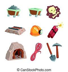 détaillé, ensemble, minéral, coloré, exploitation minière, industrie, étiquette, charbon, vecteur, illustrations, dessin animé, design.