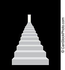 détaillé, escalier, vecteur, porte, illustration