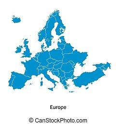 détaillé, europe, carte, politique, vecteur, frontières