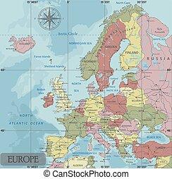 détaillé, europe, carte, projection., politique, séparé, mercator, labeled., layers., clairement