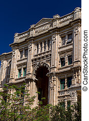 détaillé, façade bâtiment, balluta, malte