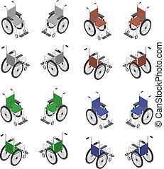 détaillé, fauteuil roulant, isométrique, icône