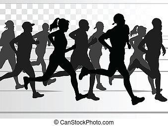 détaillé, femme, illustration, marathon, actif, coureurs, homme