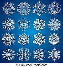 détaillé, flocons neige