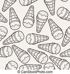 détaillé, graphique, cône, glace