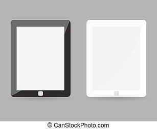 détaillé, gris, concept, eps10, tablette, mockup, réaliste, -, deux, illustration, isolé, pc, vecteur, noir, arrière-plan., screen., vide, sensible, petit, blanc, hautement
