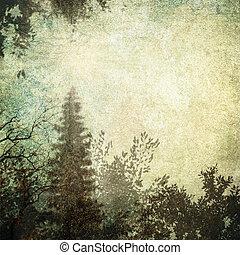 détaillé, gris, grunge, vendange, cadre, forest-like,...