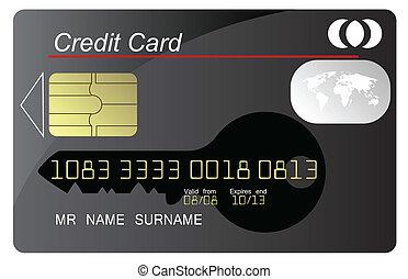 détaillé, hautement, crédit, noir, vecteur, carte
