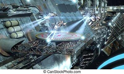 détaillé, hautement, futuriste, vaisseau spatial, interstellaire