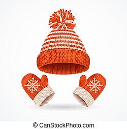 détaillé, hiver, set., réaliste, vecteur, chapeau, mitaines, 3d