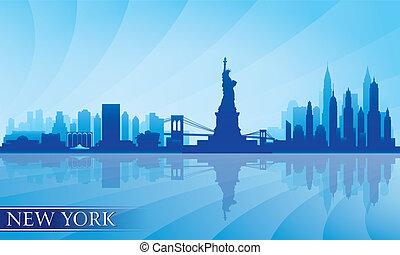 détaillé, horizon, ville, york, nouveau, silhouette