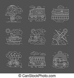 détaillé, icônes, véhicules, vecteur, ligne, transport