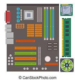 détaillé, illustration., circuit ordinateur, puce, planche, vecteur, conception, imprimé, fond, ic, puce, résumé, gabarit