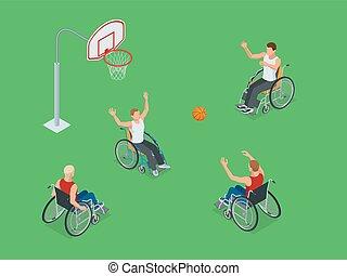 détaillé, isométrique, basket-ball, sain, fauteuil roulant, hommes, illustration, handicapé, joueurs, concept, vecteur, fond, actif, sport