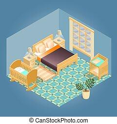 détaillé, isométrique, fragment, set., intérieur, meubles