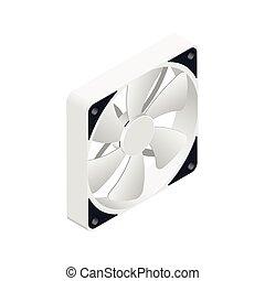 détaillé, isométrique, ventilateur ordinateur, icône