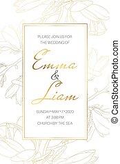 détaillé, jardin, drawing., printemps, magnolia, invitation, template., flowers., mariage, mariage, événement, carte, contour
