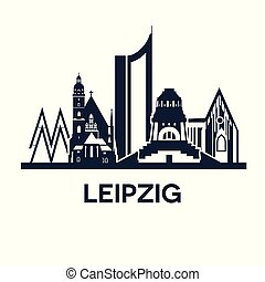 détaillé, leipzig, emblème, allemagne, ville