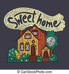 détaillé, lettrage, doux, -, main, pays, petite maison, dessiné, home., griffonnage