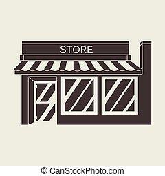 détaillé, marché, magasin, illustration, vecteur, magasin, icône