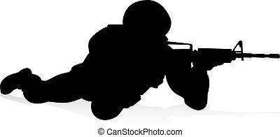détaillé, militaire, silhouette, soldat