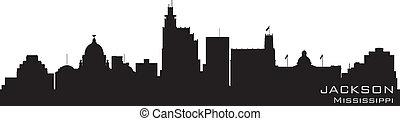 détaillé, mississippi, silhouette, jackson, vecteur, skyline.