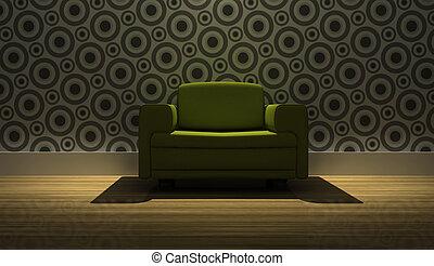 détaillé, moderne, fauteuil, rendre, 3d