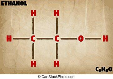 détaillé, molécule, éthanol, illustration