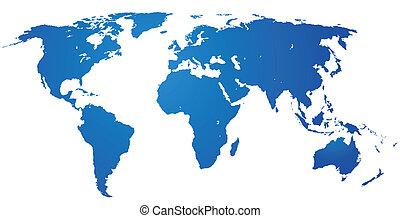 détaillé, mondiale, map.