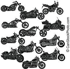 détaillé, motocyclette, package-