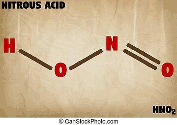 détaillé, nitreux, molécule, illustration, acide