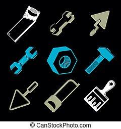 détaillé, outils, ensemble, réparation, industrie, classique, isolé, icons., stylisé, thème, graphique, vecteur, collection, 3d, travail, éléments, white.