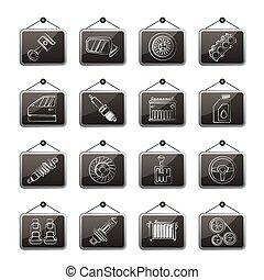 détaillé, parties voiture, icônes
